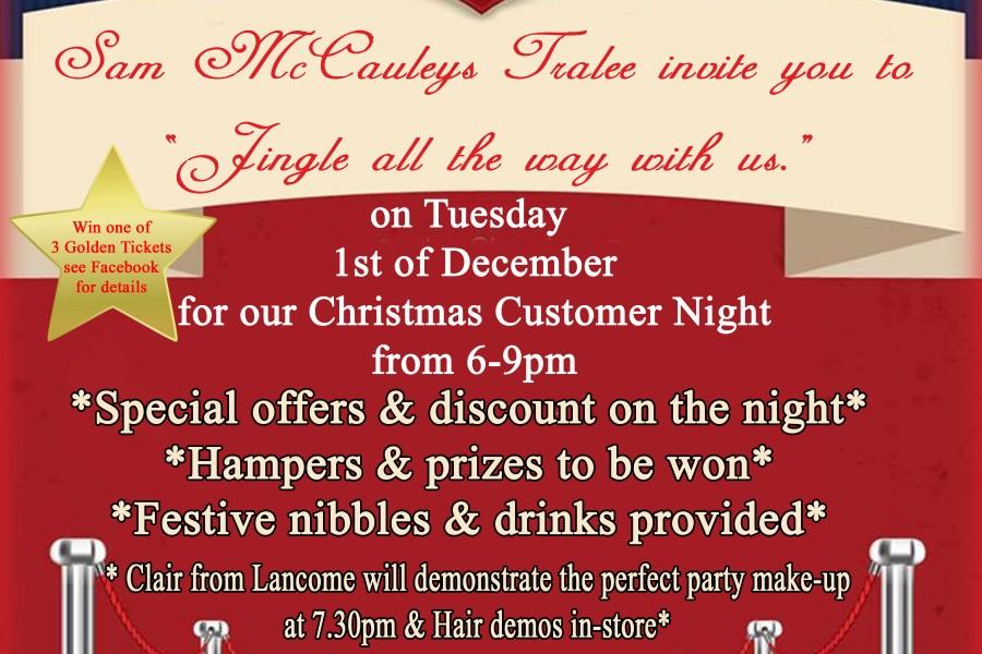 Christmas Customer Night at Sam McCauleys