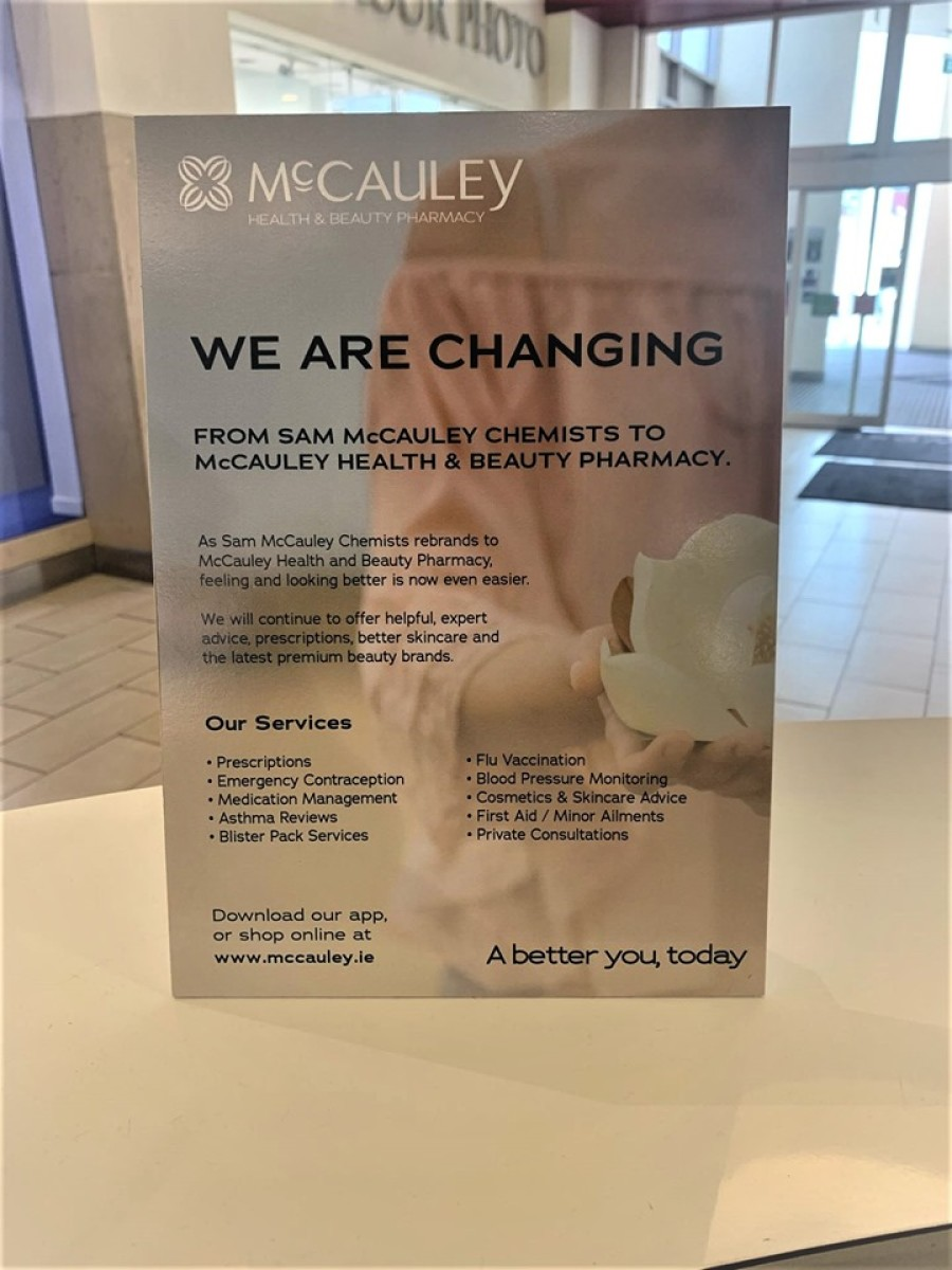 Sam McCauleys Chemists has rebranded to McCauley Health & Beauty Pharmacy