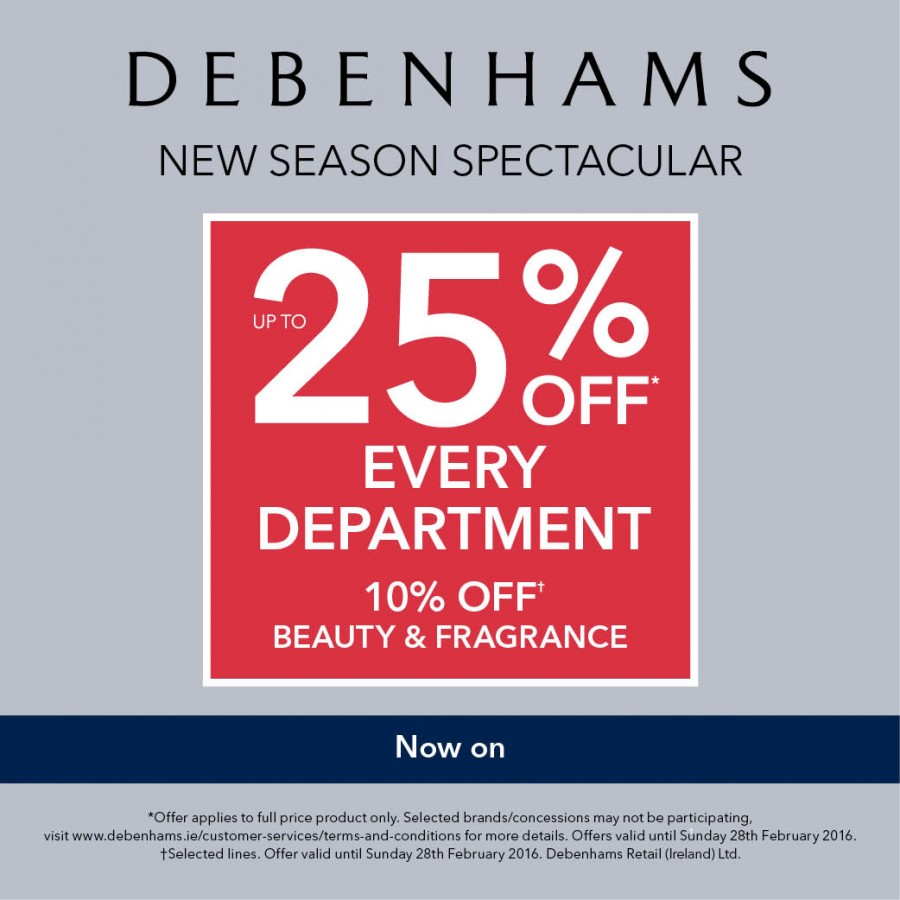 Save up to 25% at Debenhams New Season Sale