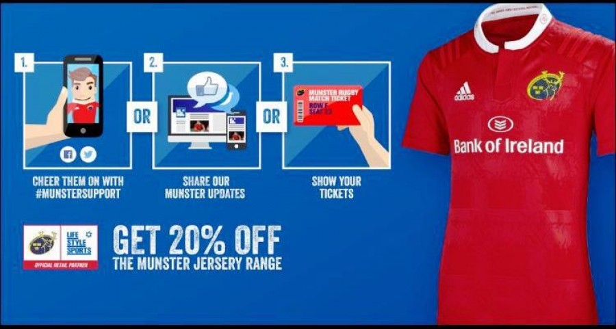 Save 20% on Munster jerseys at Lifestyle Sports in Manor West