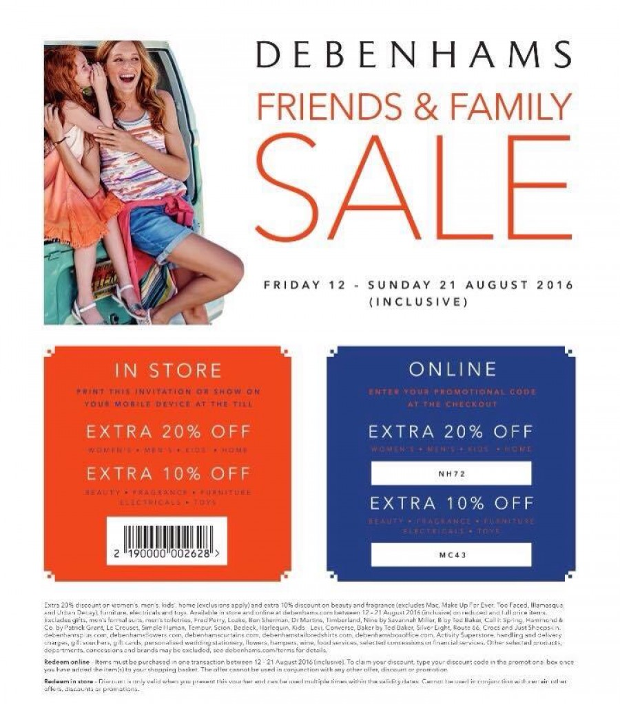 Save with the Debenhams Family & Friends event
