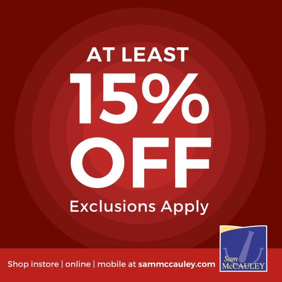 15% Off in McCauleys for Bank Holiday